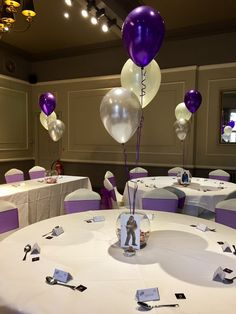 Silver Ivory And Purple Balloons At The Manor Hotel