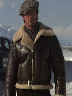 Hot Sale -$250 Rocky IV Balboa Bomber Shearling Winter Flying Jackets Rocky Balboa wore in his Rocky IV series. The leather jacket comes with a lot of equipment in comfort, style and indeed the memory and legacy of Rocky Balboa himself. #MenLeatherJacket #MenBikerLeatherJacket #BikerLeatherJacket #CelebrityLeatherJacket