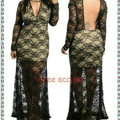 """Plus size dress long maxi lace sheer mesh -New plus sizsme sexy long maxi mermaid dress. -Black /Golden color Lightweight, Soft and stretchy comfortable material. -Long  sleeves, Fitted with stretch, Mermaid Flare hem. -Backless /open plunge back. -Partially Lined with beige lightweight stretchy fabric  -Black/golden sheer mesh SEE THROUGH  floral lace fabric. -Total Length:64""""-66"""" -Total sleeves length=26-27""""depends on size. ****2X Measurements  (21"""" Armpit to armpit across) (16"""" Waist…"""