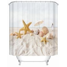"""HOT PRICES FROM ALI - Buy """"Starfish on The Beach Shower Curtains Bathroom Curtain Waterproof Fabric-shower-curtain High Quality Bathroom Products from category """"Home & Garden"""" for only USD. Seashell Shower Curtain, Beach Shower Curtains, Fabric Shower Curtains, Bathroom Shower Curtains, Bathroom Stuff, Curtain Fabric, Small Bathroom, Unique Home Accessories, Bathroom Accessories"""