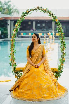 A beaming bride shining in this pretty Sabyasachi lehenga perfect for her wedding ceremony! // yellow modern and simple wedding lehenga for brides with embroidery Desi Wedding Decor, Wedding Flower Decorations, Wedding Centerpieces, Church Decorations, Sunflower Centerpieces, Wedding Arrangements, Centerpiece Ideas, Table Centerpieces, Indian Wedding Flowers