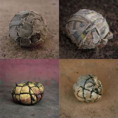 """Photos of Makeshift Soccer Balls Used by Children in Africa Belgian photographer Jessica Hilltout decided to turn her attention and her camera lens on these one-of-a-kind creations, documenting """"football in its purest form"""" in Africa. The project is titled AMEN."""