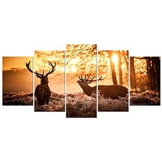 [Framed] Elks Deer Sunset Landscape Picture Prints Canvas Wall Art Home Decor #Pyradecor #Impressionism