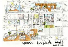 けいかく中 – Savo – - 名古屋市の住宅設計事務所 フィールド平野一級建築士事務所 Villa Design, House Design, Floor Plan Sketch, Interior Presentation, Interior Sketch, Interior Design, Japanese House, Sketch Design, House Floor Plans
