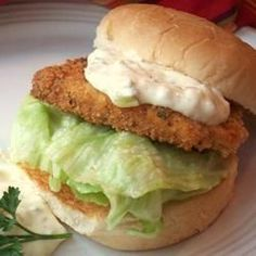 "Vegan ""Fish"" Fillet Sandwich....instead of dipping it in olive oil to bread the tofu I mixed a little flour into dairy-free milk, and some dill into flour....so I could dip in milk, then flour, then milk then breading.....same results but healthier....then greased (with 1/2 to 1 tsp of Earth balance coconut spread) a tin-foiled baking sheet"