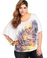 Baby Phat Plus Size Top, Butterfly Sleeve Printed Open Back