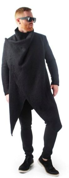 Draped Wool Coat Black. Be trendy for the fall and winter with this stylish wool coat for men. sold on differio.com.