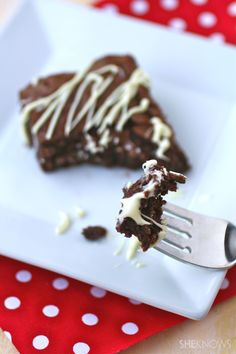 Gluten-free chocolate-chile brownies with chocolate-vanilla drizzle