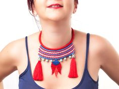 Bohemian Jewelry / Tassel Necklace / Crochet by PinaraDesign