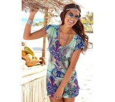 Shop Mint Printed Paisley Print Mini Dress from LASCANA clothing and get ready for fun. Casual Day Dresses, Cute Summer Dresses, Dresses For Sale, Sun Dresses, Beach Dresses, Mini Vestidos, Office Fashion Women, Summer Wear, Woman Clothing