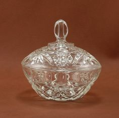 EAPC Star of David Covered Candy Dish Anchor Hocking Glass Vtg