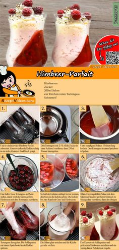 Taste this raspberry parfait with delicious fruits and cream. The Raspberry Parfait Recipe Video is Raspberry Parfait Recipes, Parfait Desserts, Köstliche Desserts, Delicious Fruit, Tasty, Yummy Food, Hungarian Recipes, Food Humor, No Bake Cake