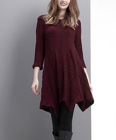 dea4a72a0f5 Burgundy Cable-Knit Handkerchief Tunic - Women