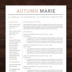 resume template cv template for word mac or pc professional design free cover letter creative minimal teacher the autumn - Resume Template Word Document