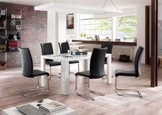 Esstisch Tizio Weiß HG mit Stühlen Arcos 5793. Buy now at https://www.moebel-wohnbar.de/essgruppe-esstisch-tiziok-140x90-weiss-mit-6-stuehlen-arcos-schwarz-5793.html