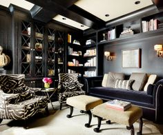 Traditional Office Design Ideas For Home Feature Dark Themed Home Office Color Schemes And Black Sofa Plus Small Greek Statue. Nice Variant Office Design Ideas For Home Interior Home Office Design, House Design, Library Design, Office Designs, Cozy Library, Office Style, Office Ideas, Wall Design, Office Decor