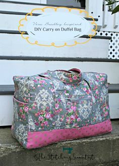 Remona from The Stitching Scientist sewed up this pretty carry on duffel bag, inspired by Vera Bradley bags that she loves. The duffel is designed to fit in the carry-on bin on an airplane. x 10″ deep