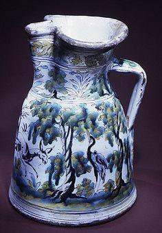 Jug; Spain, Talavera de la Reina, tin enameled earthenware, 17th century