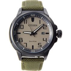 $235.00 Citizen AW1465-14H Men's Eco DRIVE AR Military Green Fabric Band Analog Watch Citizen Eco, Nylons, Green Fabric, Military Green, Stainless Steel Case, Fine Jewelry, Band, Watches, Beige