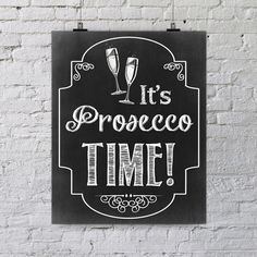 Prosecco time wall art printable quote black & von ElephantJuiceNZ