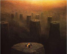 Looks like a realistic representation of the #Nether from #Minecraft! Zdzisław Beksiński art.