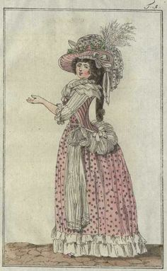 Journal des Luxus, 1789. Great combination of the fabrics there! Spotty petticoat (and stomacher?) with a stripey jacket, but inh the same colorways. That's a very nice way to be a little wacky but still maintain a connection between the two garments.