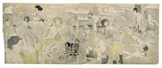 "Henry Darger (1892-1973). ""At Calmanrina murdering naked little girls"". Crayon, aquarelle et collage sur papier, 1910-1970."
