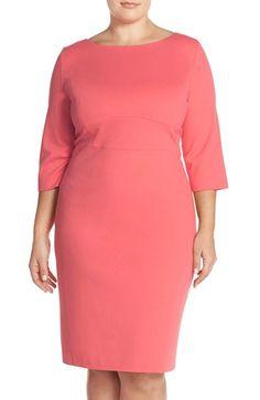 Classiques Entier® Bateau Neck Italian Ponte Sheath Dress (Plus Size) available at #Nordstrom