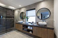 House Design: Hoffman - Porter Davis Homes Concrete Look Tile, Concrete Floors, Porter Davis, New Home Designs, White Tiles, Exposed Brick, New Builds, Double Vanity, Master Bathroom