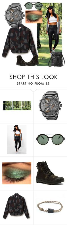 """""""In the forest of the Life"""" by andrea-pok on Polyvore featuring Diesel, Boohoo, Italia Independent, Palladium, Lacoste, Sherpani and camo"""