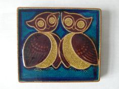 Søholm Denmark  wall hanging / tile  two owls  by danishmood, kr650.00