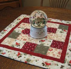 Quilted christmas table topper christmas by WarmandCozyQuilts