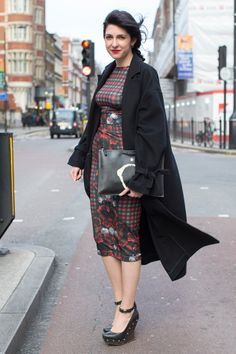 "Maria Dimitrova, freelance journalist  ""I'm wearing a Topshop Boutique coat, Evis top and skirt, McQ shoes and carrying a Givenchy clutch."" Photo By Dvora"