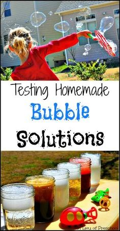 Testing homemade bubble solutions- fun Science from In Lieu of Preschool!