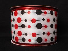 """2.5"""" Wired Black and Red String Dots Ribbon (10 Yards) - c150013"""