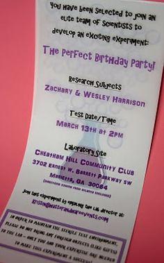 Science party invitation wording