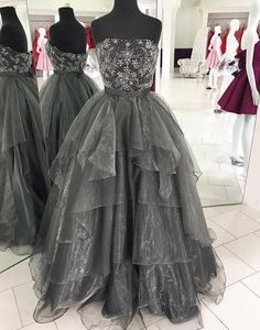 Strapless Organza Ball Gown Prom Dress