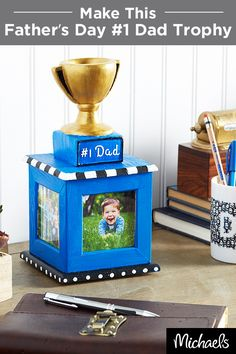 """Celebrate Dad and make him a Father's Day """" Dad"""" Trophy that he will treasure for years! Holiday Crafts, Holiday Fun, Holiday Ideas, Homemade Gifts, Diy Gifts, Crafts To Do, Crafts For Kids, Daddy Day, Little Presents"""