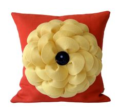 Pale Yellow Felt Flower DECORATIVE PILLOW COVER in Coral with Navy Blue Retro Honeycomb Dome Button by JillianReneDecor Summer Home Decor. $45.50, via Etsy. This would look perfect in Hadlie's room!