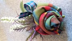 Wool Fabric Pin Brooch with purple thistle and lucky white heather Pin to back Can be made in multiples Fabric Flower Brooch, Fabric Roses, Wool Fabric, Fabric Scraps, Tartan Crafts, Outlander, Harris Tweed Fabric, Plaid Decor, Fabric Embellishment