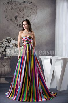 Colorful Puddle Train Ruffles Silk-like Satin A-Line Prom Dress