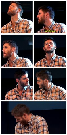 [gifset] Jensen trying different techniques to stop laughing - and failing. #Jensen #JibCon13