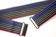Women's 2 inch rainbow navy belt by Cinched Apparel Black Belt, Black Metal, Pride Outfit, Stretch Belt, Hourglass Figure, Rainbow Print, Gay Pride, Color Pop, Zip Around Wallet