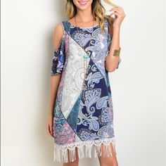 Lavender /blue paisley fringe cold shoulder dress! Stunning colors! Flattering fit cold shoulder dress with fringe hemline- take the room in this dress! Dresses