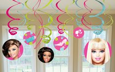 Barbie All Doll'd Up Hanging Swirl Value Pack - Includes (6) hanging swirls with cutouts (24) and (6) foil hanging swirls (18). This is an officially licensed Barbie product.