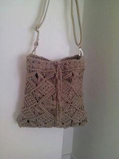 Dark beige Crochet/Macramé Shoulder Bag Cotton Spring Ethnic Hippie/Boho chic Bohemian Style by WishUpt on Etsy