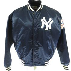 Vintage 80s New York Yankees Starter Jacket Mens XL  /  XXL MLB Baseball Patches [H13G_1-15_Puffy]