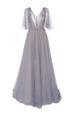 V Neck Glitter Ball Gown by MARCHESA for Preorder on Moda Operandi