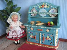 Vintage DORA KUHN Doll Furniture HUTCH in Large One by TheToyBox