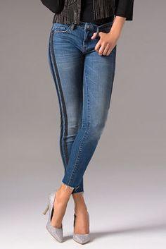 Shimmer racer stripe jean